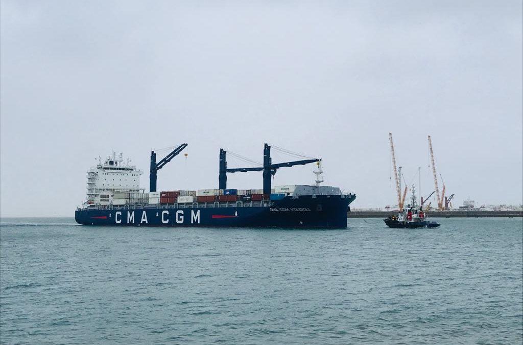 Containerships CMA CGM estrena hoy un nuevo servicio regular semanal de contenedores en el Puerto de Cádiz