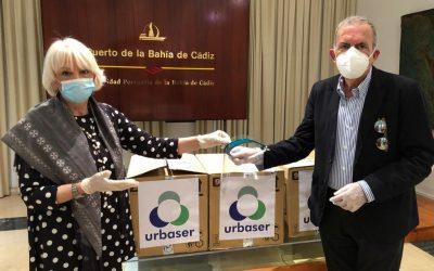 La Autoridad Portuaria recibe 250 viseras protectoras donadas por Urbaser